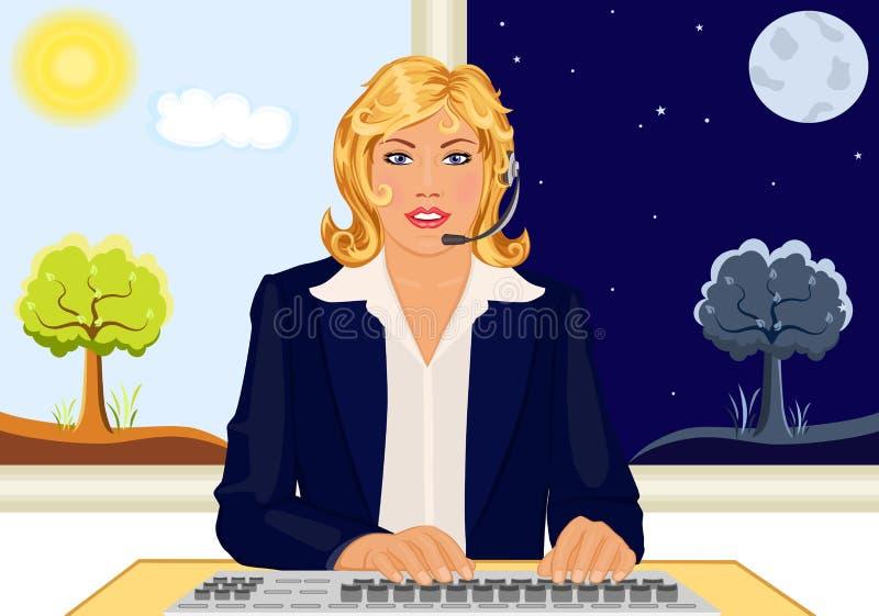 24 часа помощи стола клиента иллюстрация вектора