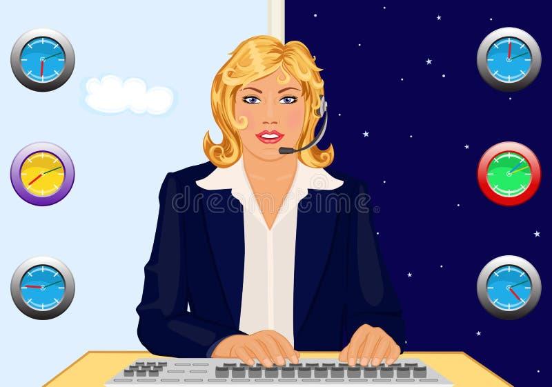 24 часа помощи стола иллюстрация штока