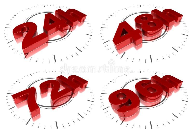 24 48 72 96 timmar sändning royaltyfri illustrationer