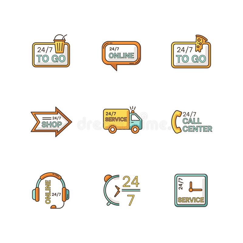 Free 24 7 Hour Service RGB Color Icons Set. Online 24 Hrs Customer Support. Everyday Available Delivery. Transportation Truck Stock Photos - 188763413