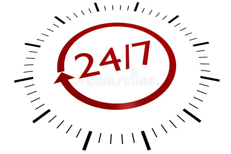 24/7 Sign. Twenty four hours/seven days stock illustration
