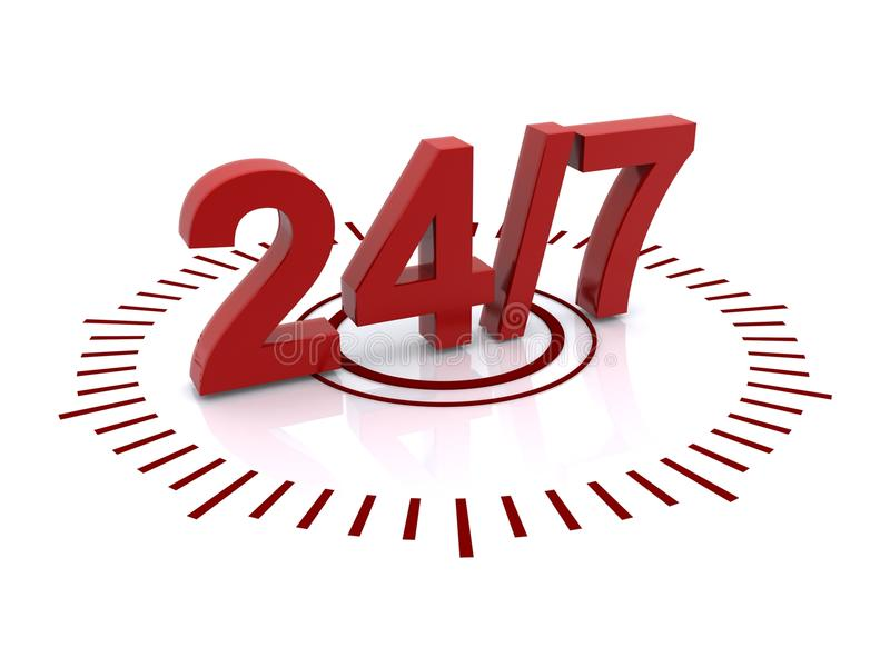 24/7 sign. Illustration of 24/7 or twenty four seven sign or button; isolated on white background stock illustration
