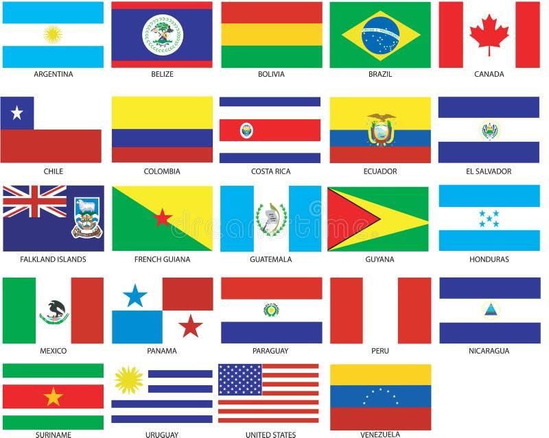24 bandeiras de Americas ilustração do vetor