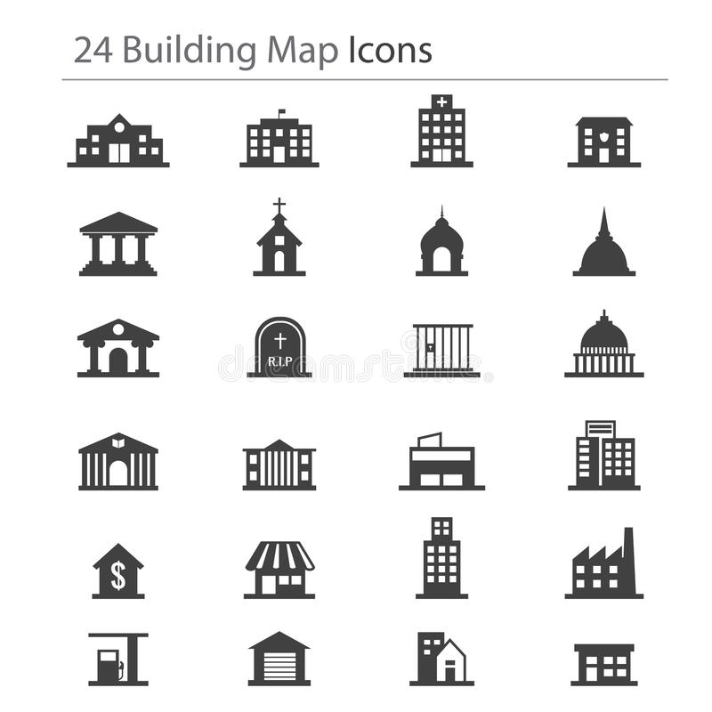 Free 24 Building Map Icon Royalty Free Stock Photos - 51398448