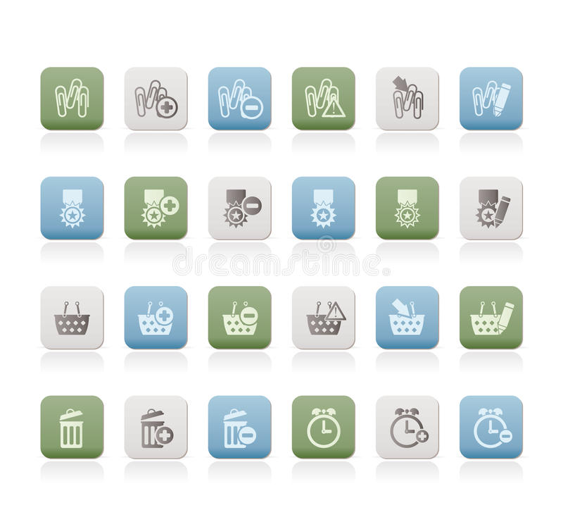 24 Business, office and website icons stock illustration