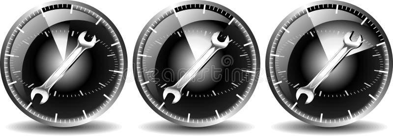 24 coches del mantenimiento de la hora ilustración del vector