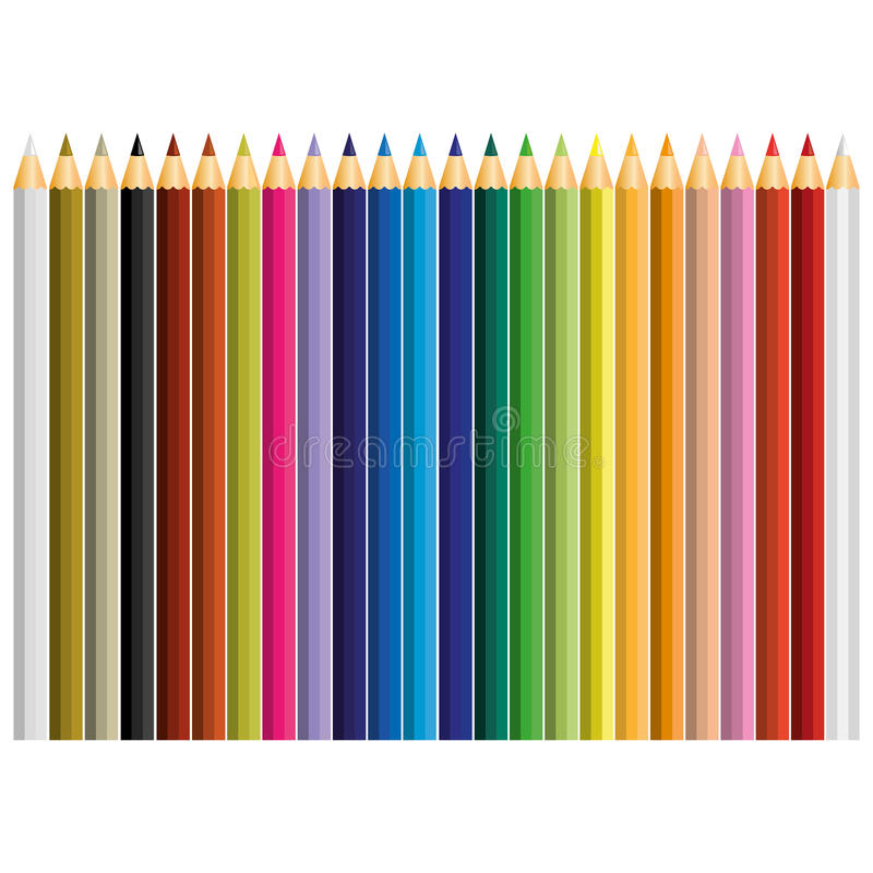 Free 24 Color Pencil Vector Royalty Free Stock Image - 63487966
