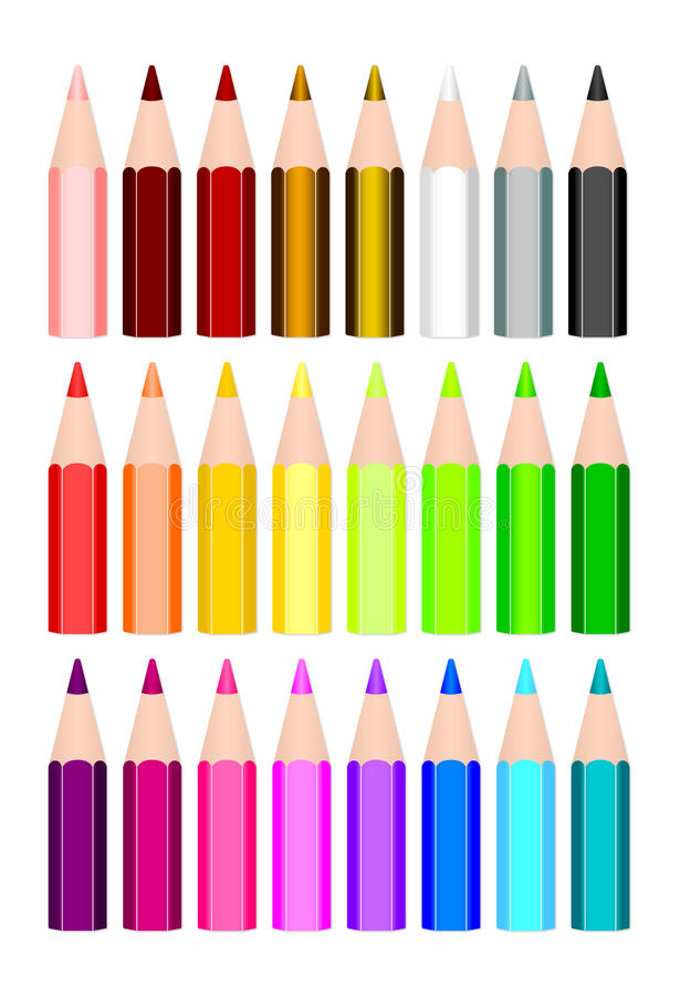 24 colored pencils royalty free illustration