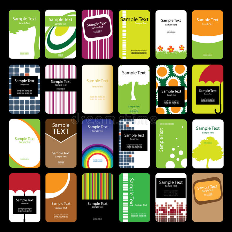 24 Colorful Vertical Business Cards Stock Vector - Illustration of ...