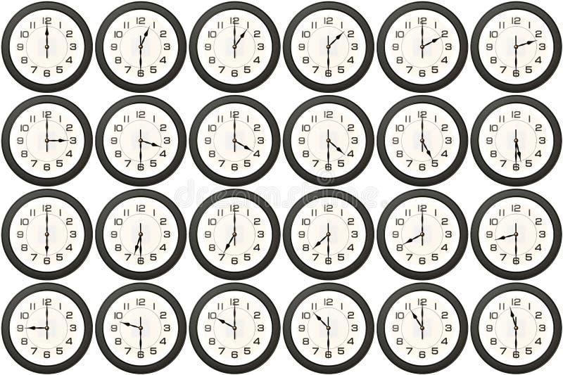 24 horloges chaque demi-heure photo libre de droits