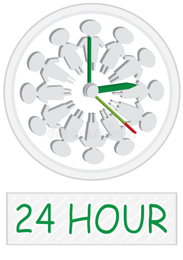 Free 24 Hour People Working Clock_eps Royalty Free Stock Images - 19738169