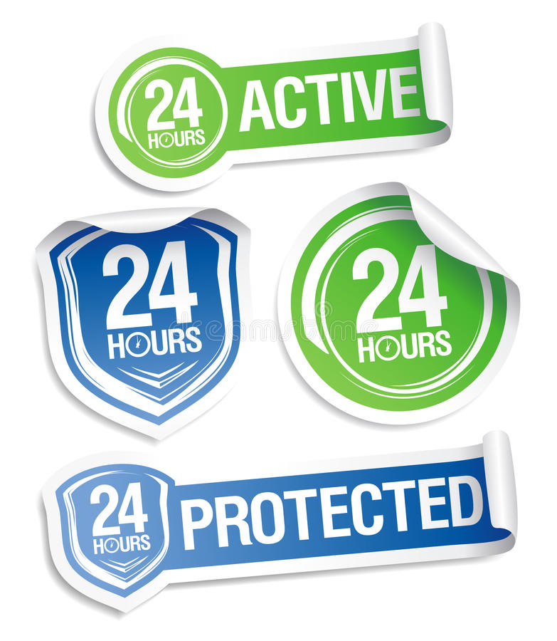 Download 24 Hours Active Protection Stickers. Stock Illustration - Image: 23451672