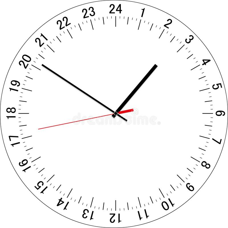 Free 24 Hours Clock Dial. Vector Illustration Royalty Free Stock Photo - 121860565