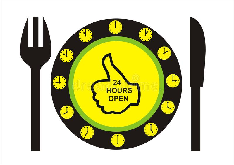 24 Hours Open Restaurant royalty free stock images