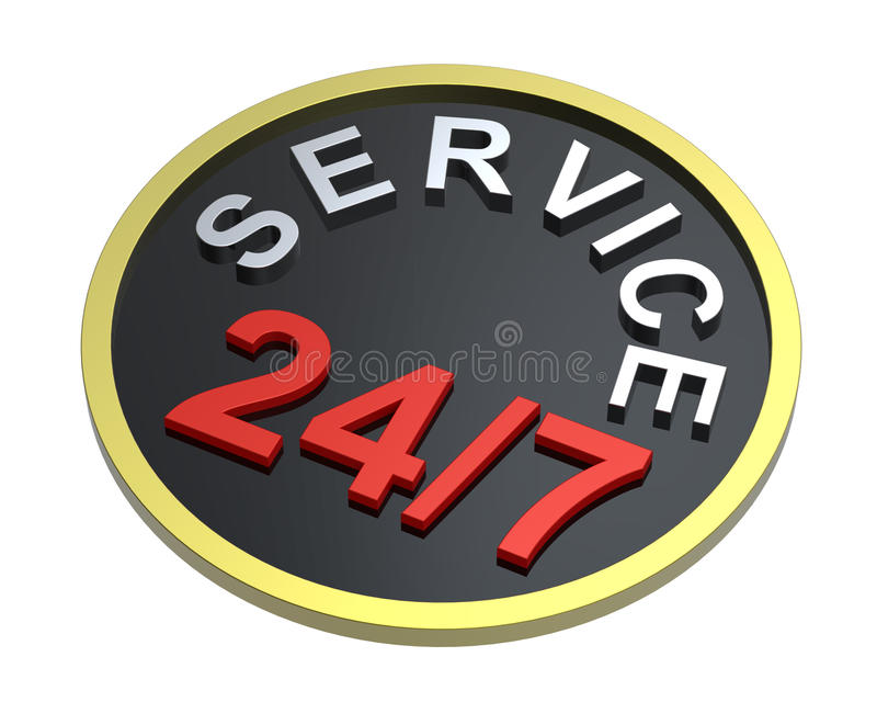 24 hours seven days a week service sign over white royalty free illustration
