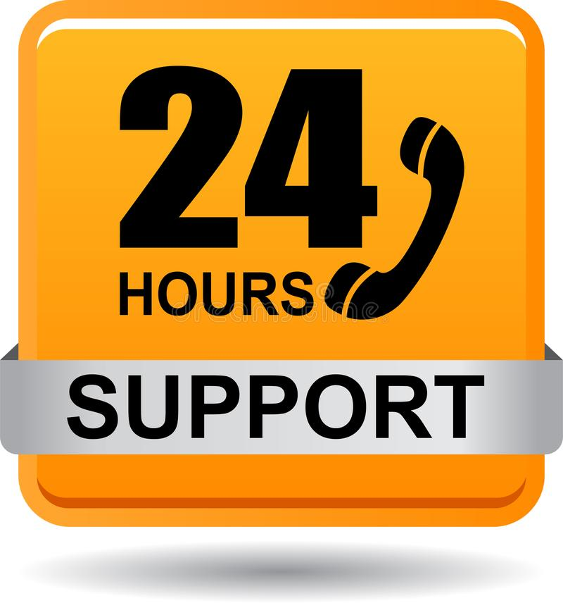 Free 24 Hours Support Web Button Orange Stock Image - 118315141