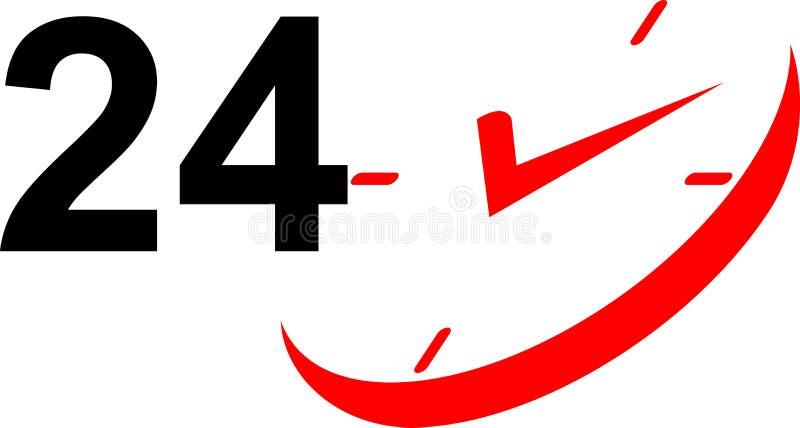24 icone dell'orologio di ora illustrazione vettoriale