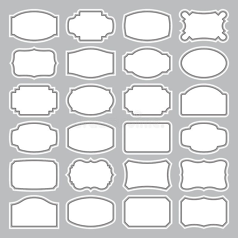 24 jogos de etiquetas em branco () ilustração stock
