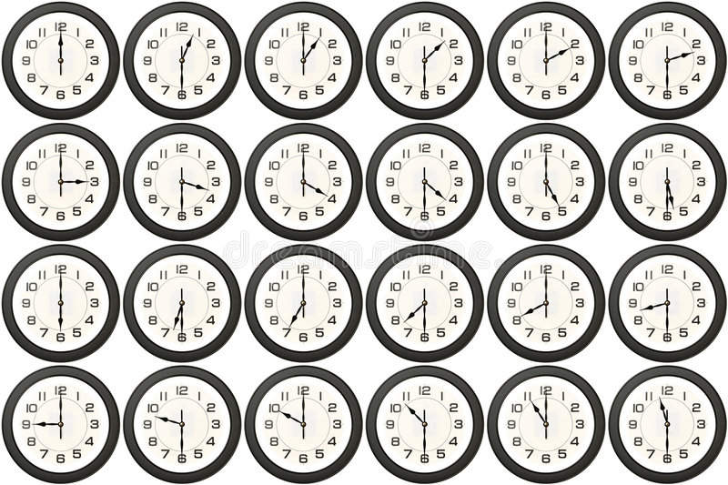 24 klokken elk half uur royalty-vrije stock foto