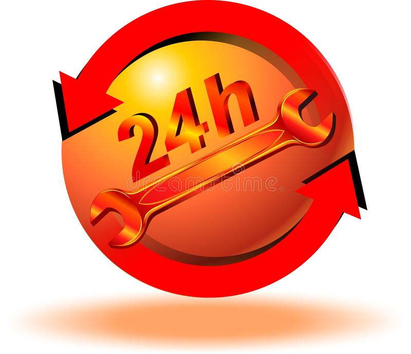 24 Stundenpflegetaste stock abbildung