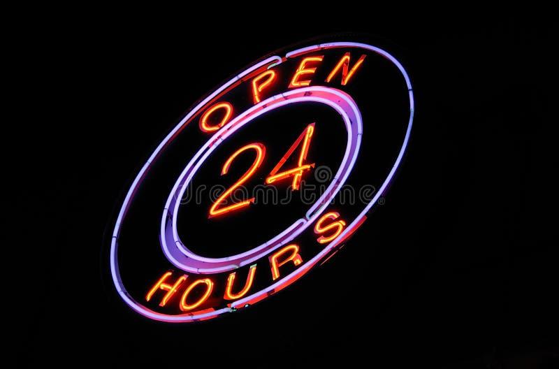 24 timmar öppet tecken för neon arkivbild