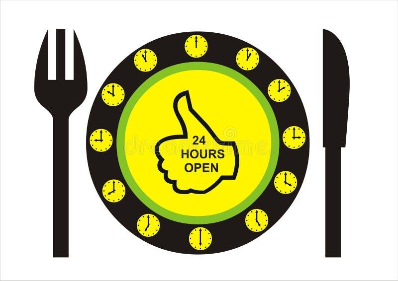 24 timmar öppnar restaurangen royaltyfria bilder