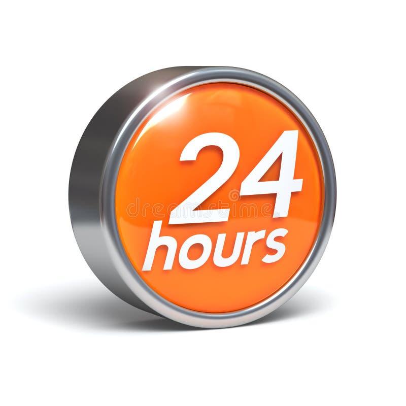 24 timmar för knapp 3d royaltyfri illustrationer