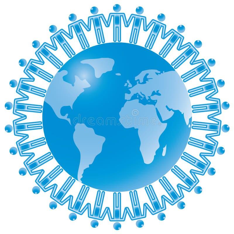 24. Trabajo en equipo global en azul. ilustración del vector