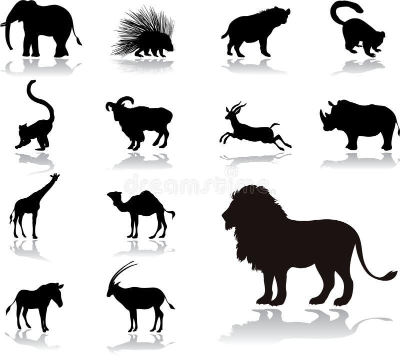 25 εικονίδια ζώων που τίθενται στοκ φωτογραφίες