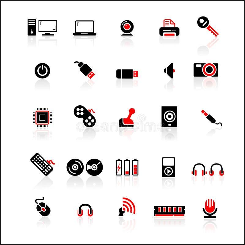 25 κόκκινος-μαύρα εικονίδια που τίθενται στοκ φωτογραφία