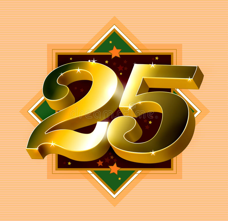 Number 25 logo. Logo design with the number 25 in gold against an octagonal shape formed by green and brown framed boxes, all isolated on a textured peach stock illustration