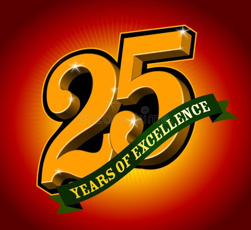 25 anni di merito illustrazione vettoriale