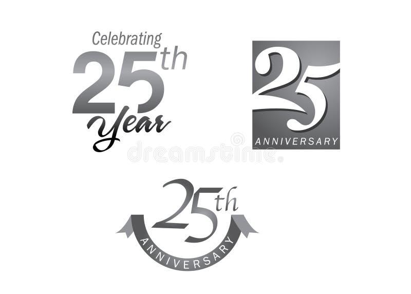 25 anos de jubileu do aniversário ilustração do vetor