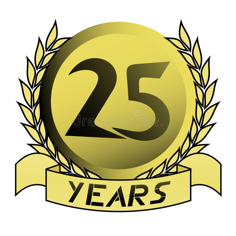 Or 25 ans illustration stock