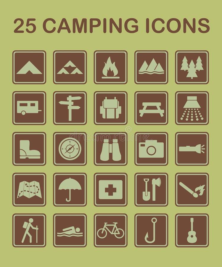 25 campingowych ikon ilustracji