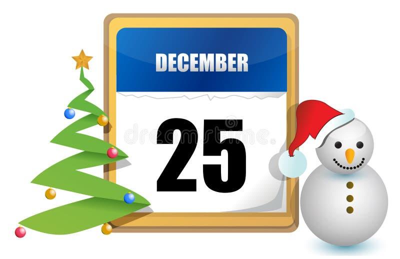 25 december kalender vector illustratie