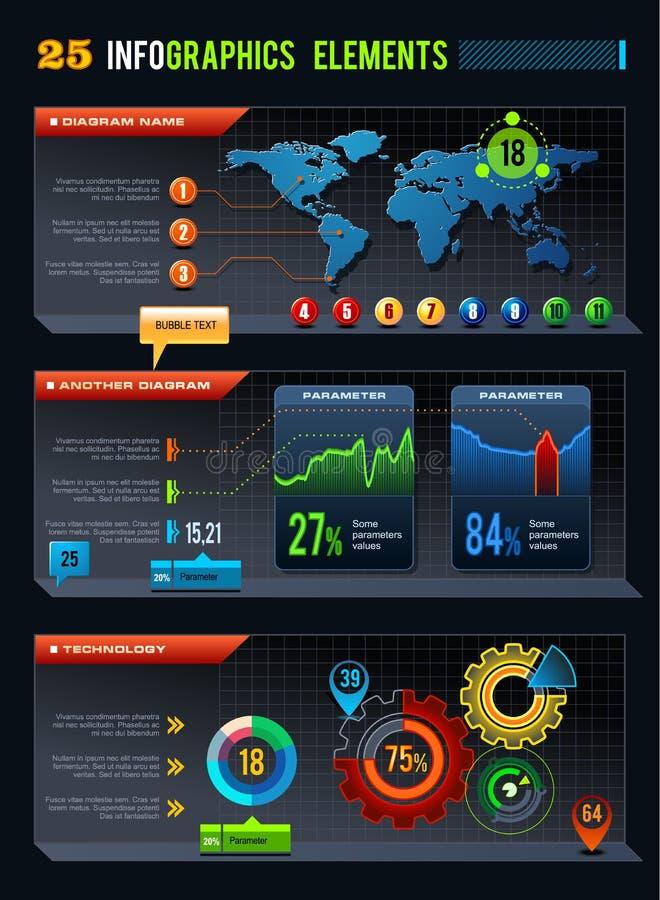 25 elementos do projeto de Infographics ilustração stock