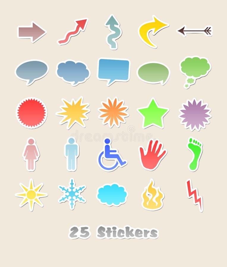 25 etiquetas diferentes para seu projeto ilustração do vetor