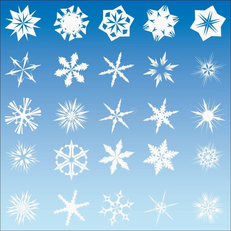 25 flakes inställd snowvektor royaltyfri illustrationer
