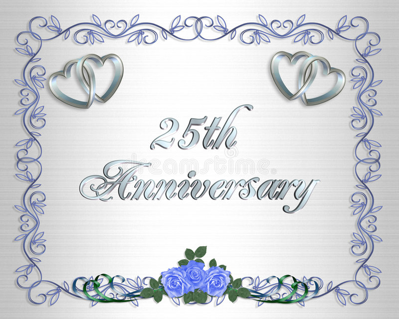 25. Hochzeits-Jahrestags-Rand-Einladung lizenzfreie abbildung