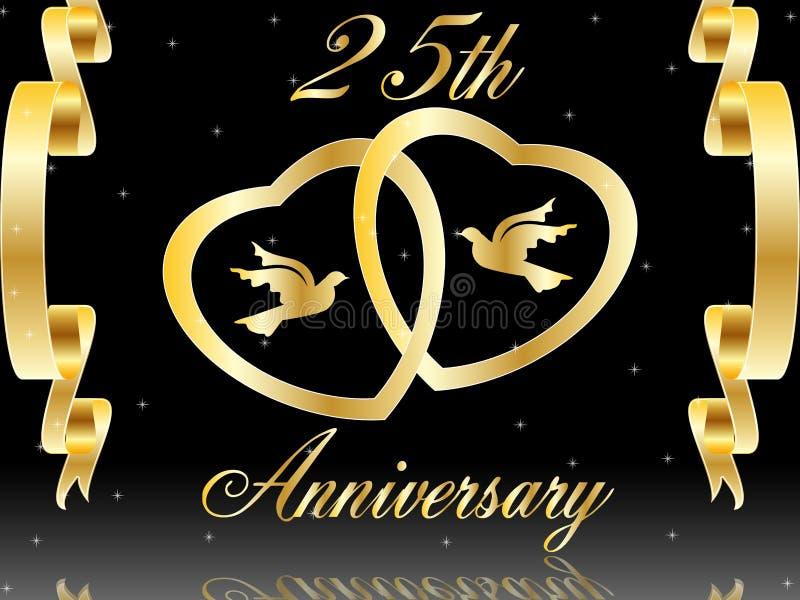 25. Hochzeitsjahrestag lizenzfreie abbildung