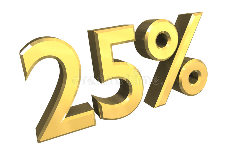 25 per cento in oro (3D) illustrazione di stock