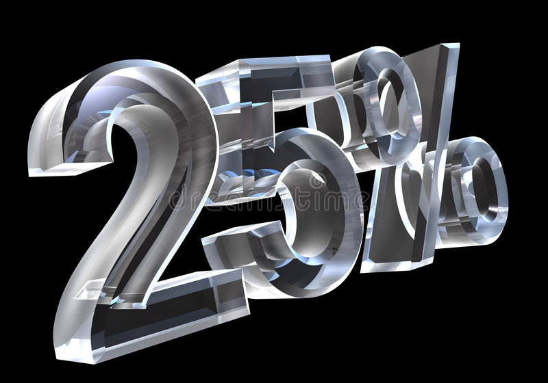 25 percent in glass (3D) royalty free illustration