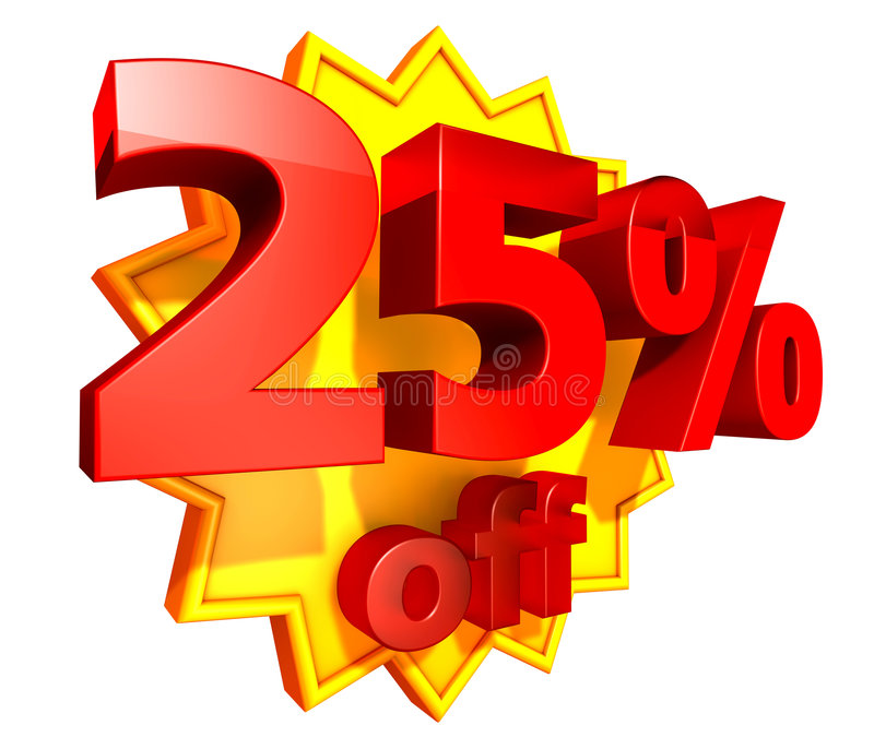 25 percent price off discount. Sign for 25 per cent off in red ciphers at a yellow star on a white background