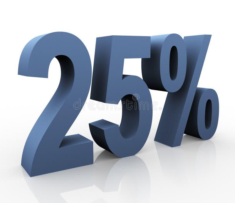 25 percentage. 3d rendering of 25 percentage royalty free illustration