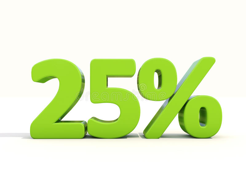 25% percentage rate icon on a white background. Twenty five percent off. Discount 25%. 3D illustration stock photos
