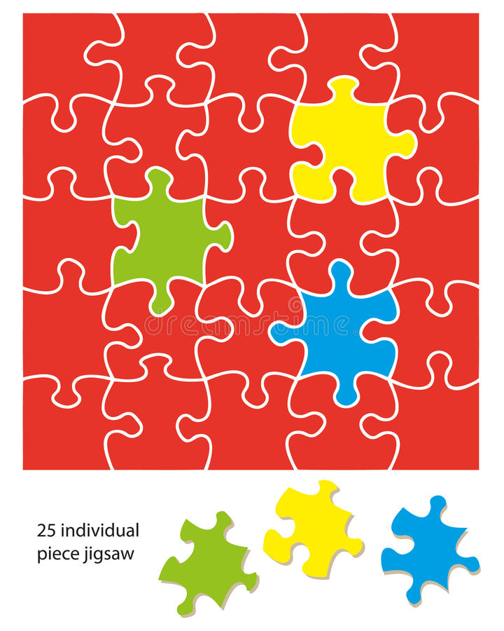 Download 25 piece jigsaw stock vector. Image of illustration, shapes - 23070185