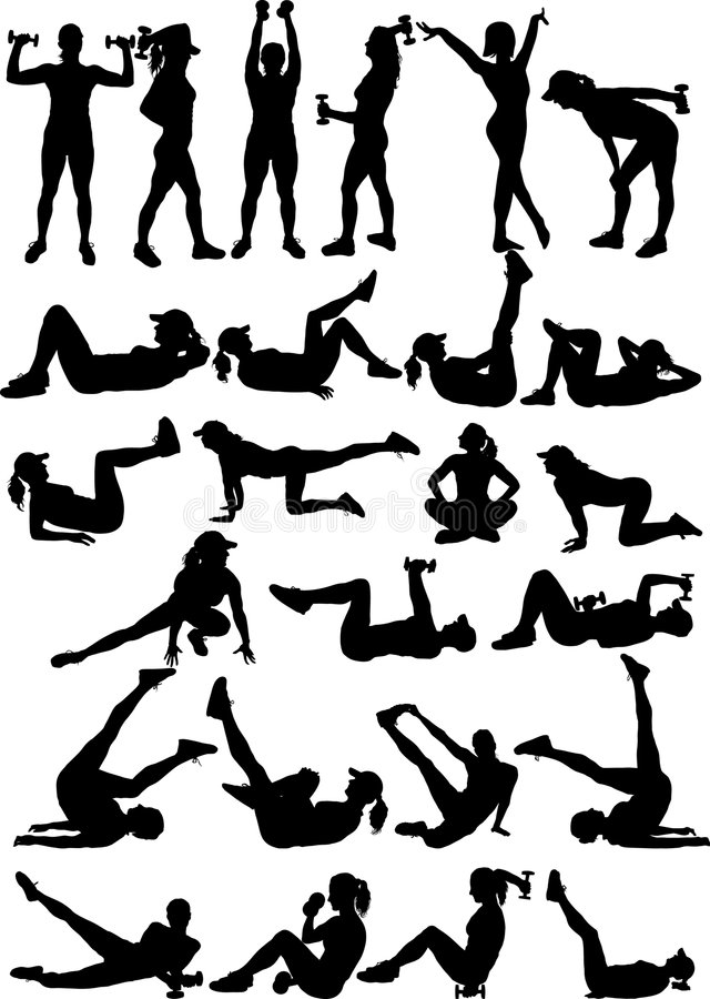 25 silhouettes of fitness girl stock photography