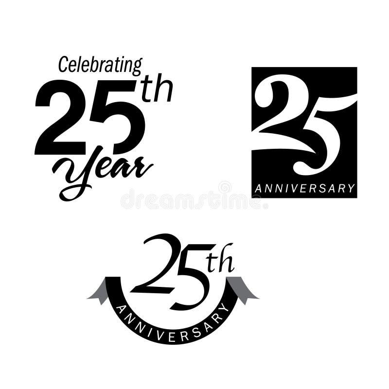 25 van het verjaardagsjaar jubileum royalty-vrije illustratie