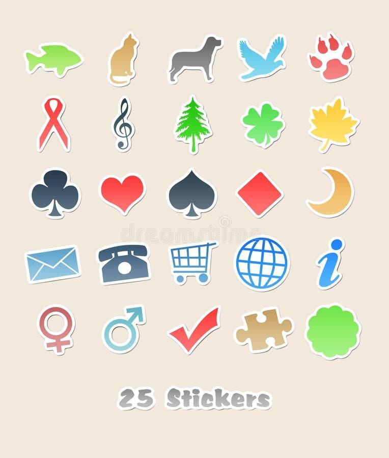 25 verschiedene Aufkleber für Ihre Auslegung stock abbildung